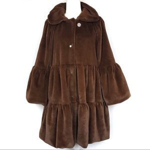 Chocolate Brown Faux Fur Tiered Bell Sleeve Coat S